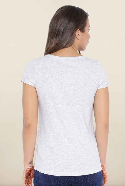 Kraus Light Grey Graphic Print T-Shirt