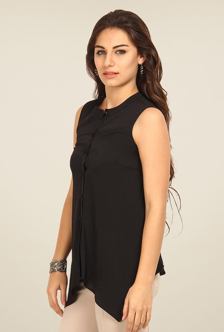 Avirate Black Solid Sleeveless Shirt