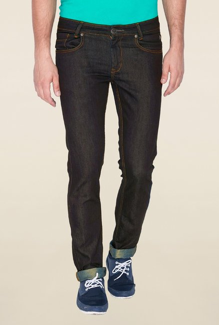 Mufti Black Raw Denim Slim Fit Jeans