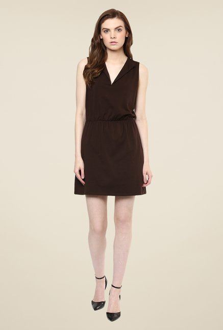 Avirate Brown Solid Blouson Dress