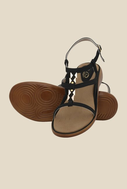 La Briza Black Back Strap Wedges