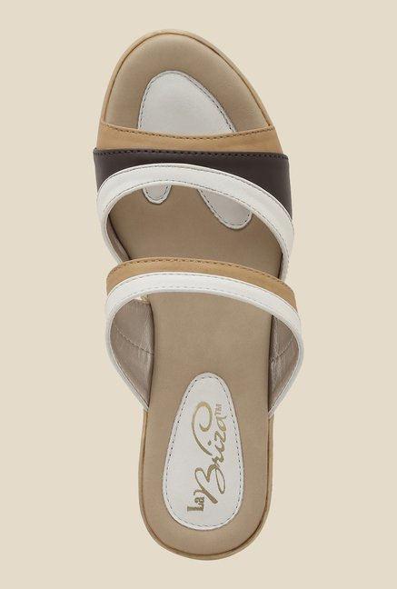 La Briza White & Beige Wedge Sandals