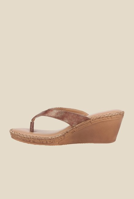 La Briza Brown Slide Wedge Sandals