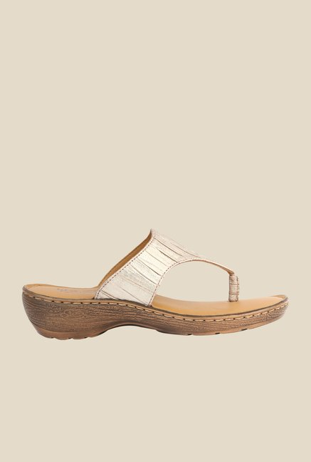 La Briza Gold Slide Sandals