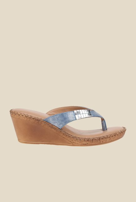 La Briza Blue Slide Wedge Sandals