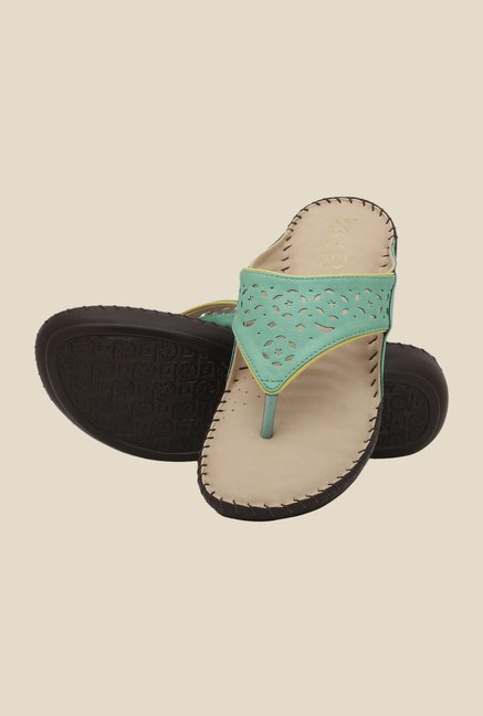 La Briza Green Slide Sandals