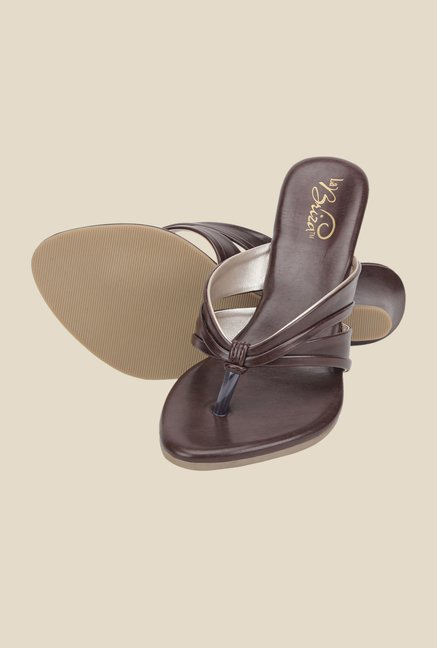 La Briza Brown Slide Wedges