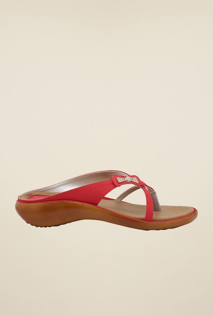 La Briza Red Slide Sandals