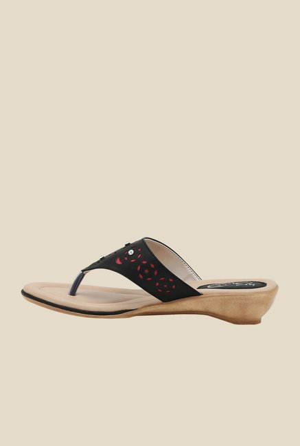 La Briza Black Slide Sandals