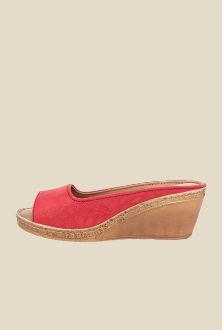 La Briza Pink Mule Wedge Sandals