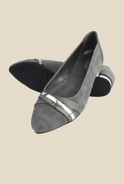 La Briza Grey Ballerina Leather Shoe