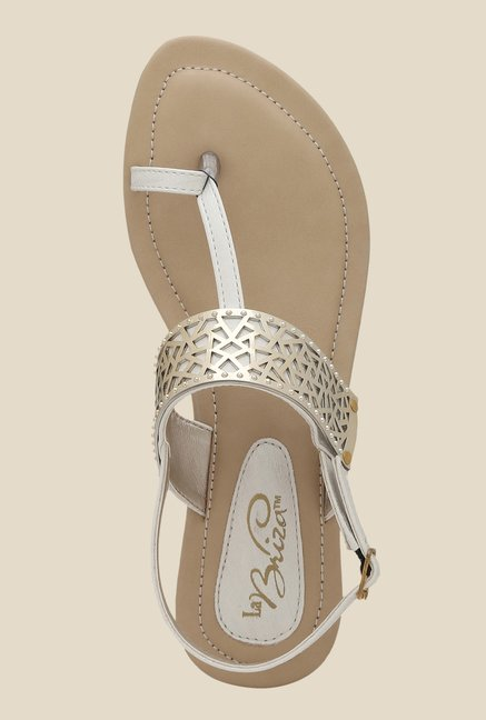 La Briza White Back Strap Sandals