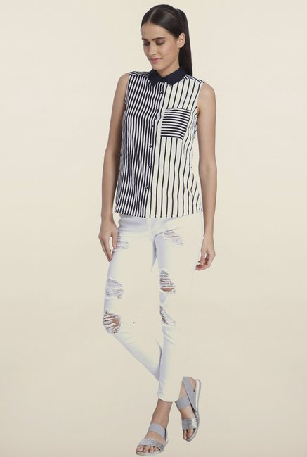 Vero Moda Navy Striped Casual Shirt
