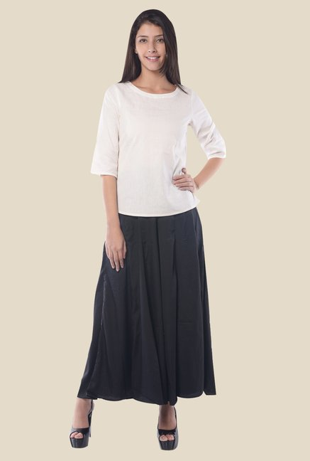 Aurelia White Round Neck Top