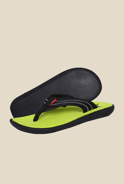 Puma Bow Black & Lime Punch Slippers