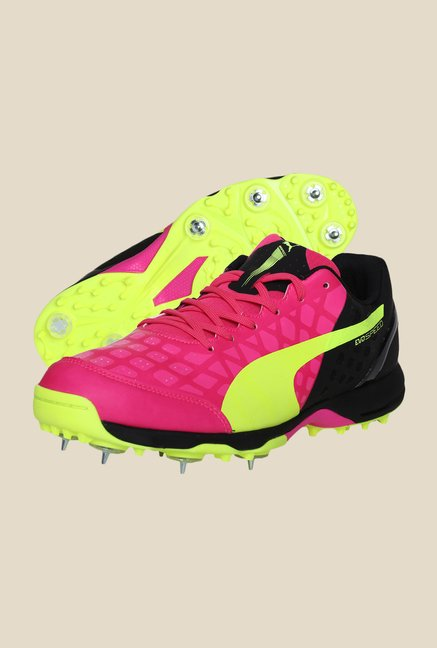 Puma EvoSpeed Cricket Spike 1.4 Pink Glo & Green Shoes