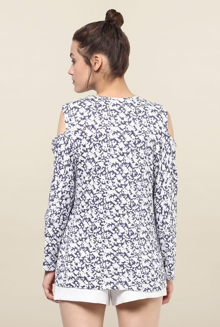 Femella Purple & White Printed Top