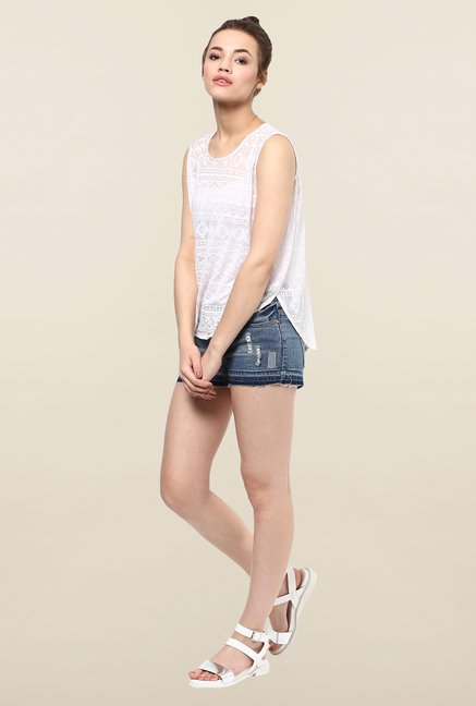 Femella White Burnout Top