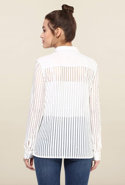Femella White Striped Casual Shirt