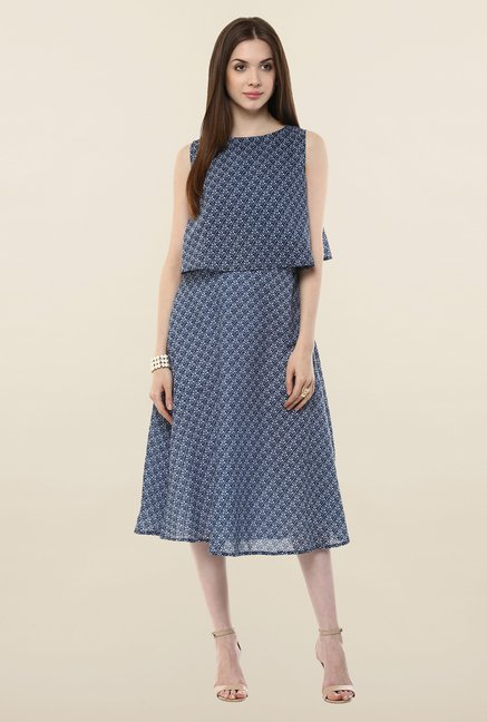 Femella Navy Printed Casual Dress