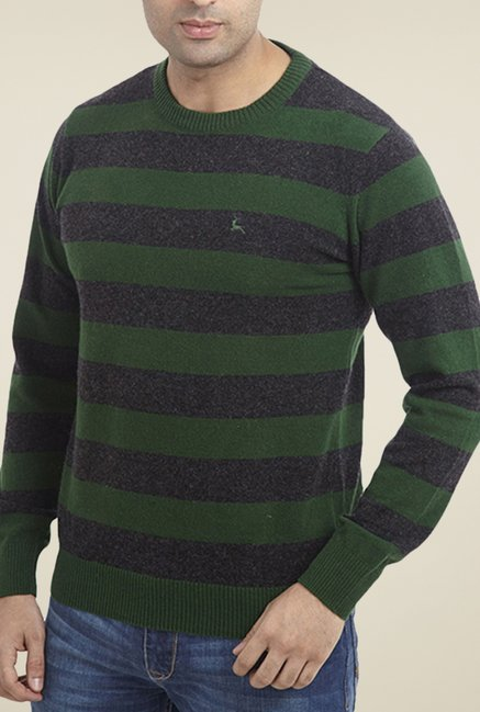 Parx Green Striped Sweater