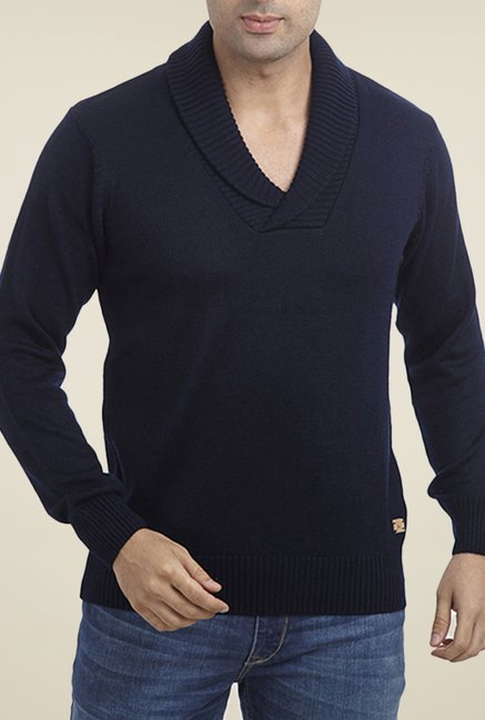 Parx Navy Solid Sweater