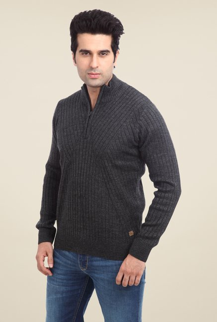 Parx Dark Grey Solid Sweater