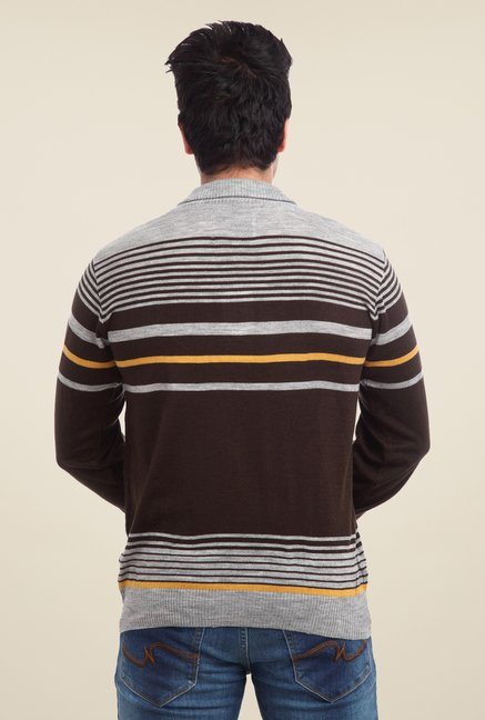 Parx Brown Striped Sweater