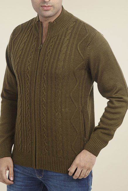 Parx Olive Solid Sweater