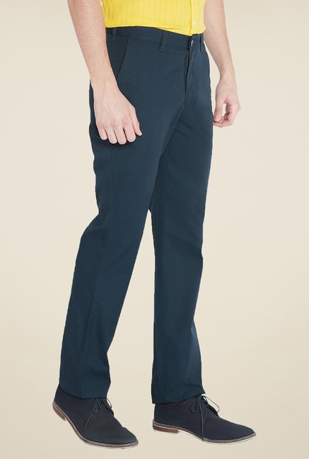 Parx Blue Solid Trouser