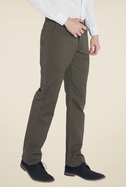 Parx Olive Solid Trouser