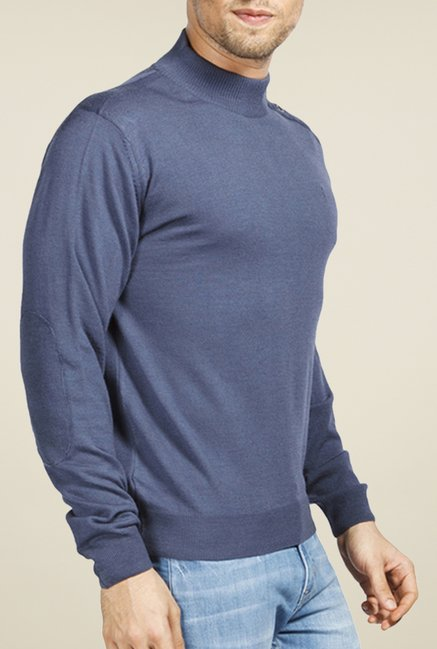 Raymond Blue Solid Sweater