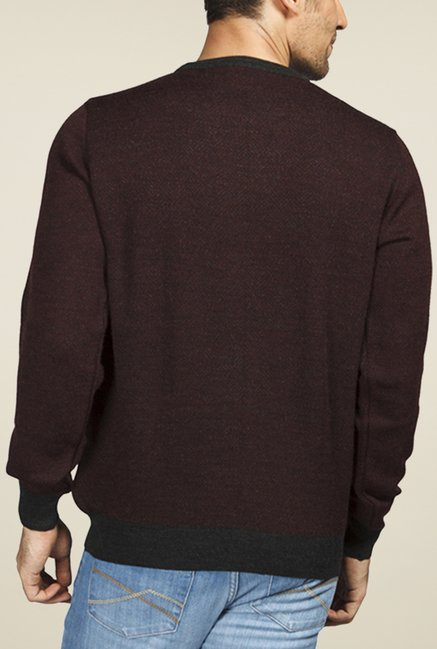 Raymond Maroon Solid Sweater