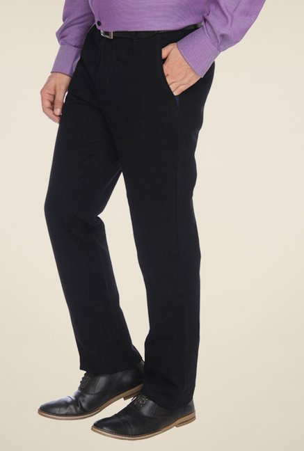 Parx Black Solid Trouser