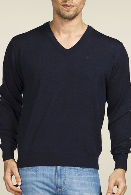 Raymond Navy Solid Sweater