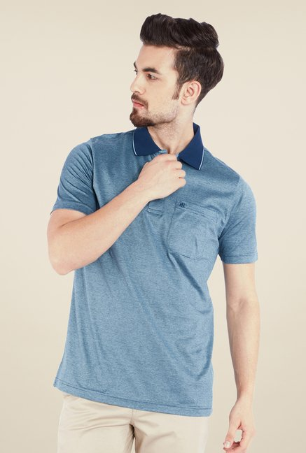 Raymond Blue Solid Polo T Shirt