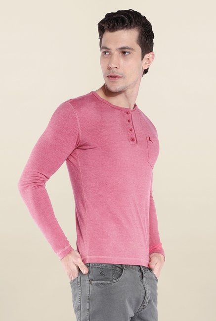 Parx Pink Solid Henley Neck T Shirt