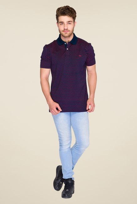 ColorPlus Navy Printed Polo T Shirt