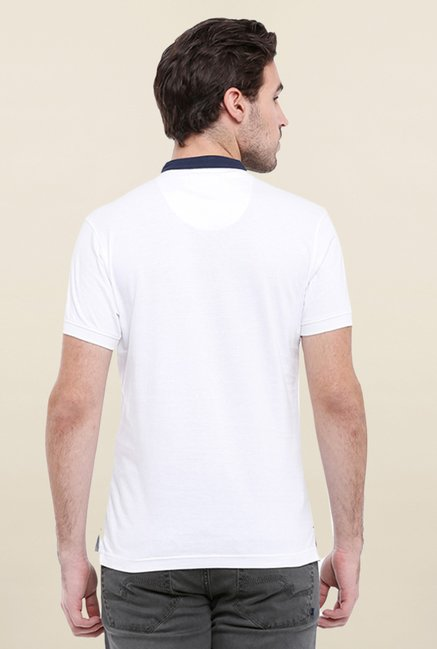 Parx White & Blue Printed Henley Neck T Shirt
