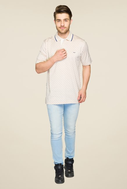 ColorPlus Beige Printed Polo T Shirt