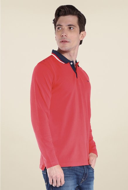 Park Avenue Red Solid Polo T Shirt