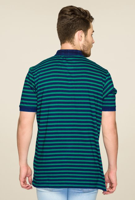 ColorPlus Green & Blue Striped Polo T Shirt