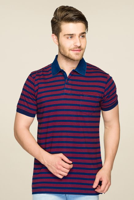 ColorPlus Red & Blue Striped Polo T Shirt