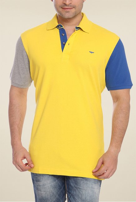 Park Avenue Yellow Solid Polo T Shirt