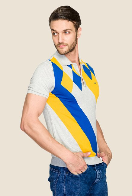 ColorPlus Grey Printed Polo T Shirt