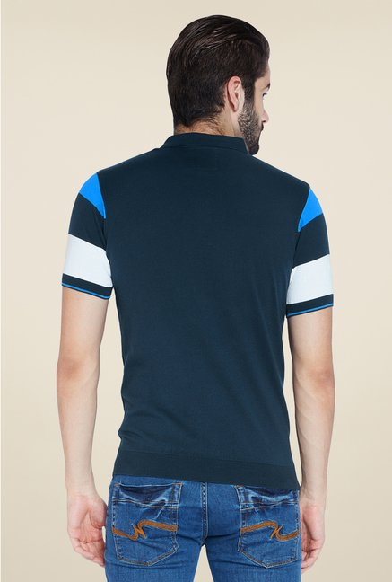 Park Avenue Navy Striped Polo T Shirt