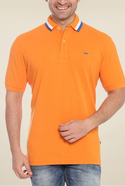 Park Avenue Orange Solid Polo T Shirt