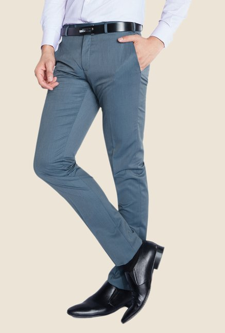 Raymond Blue Solid Trouser