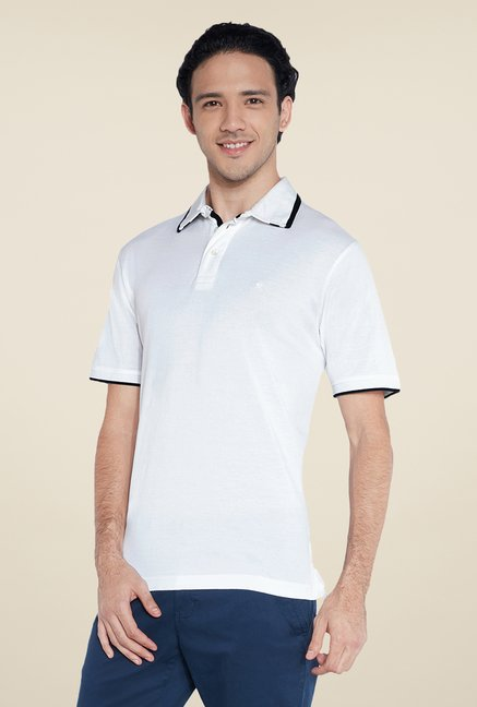 Raymond White Solid Polo T Shirt