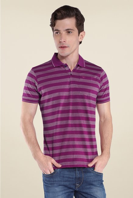 Park Avenue Purple Striped Polo T Shirt